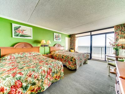Beautiful, Beach Theme Oceanfront Studio with private balcony at Sand Dunes