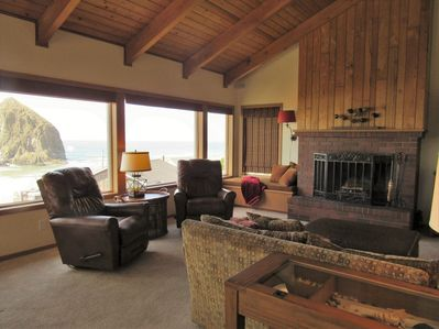 Living room with a view of Haystack Rock!