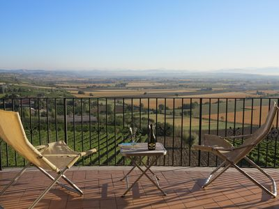 wonderful view from the balcony, you can see Perugia and Assisi on a clear day