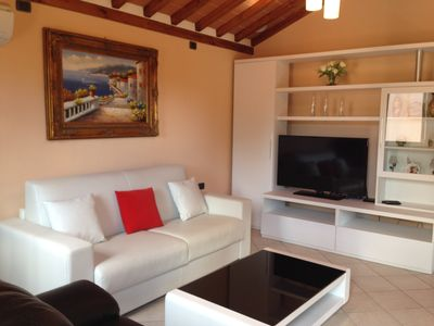 """Living Room with Modern Furniture and 40"""" Flat Screen TV"""