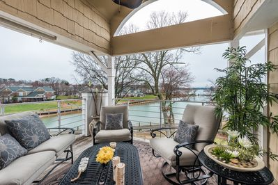Peaceful lakefront porch