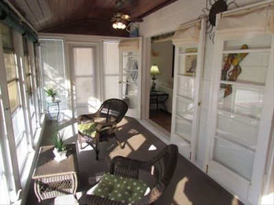 Entry porch with double French doors into the living area