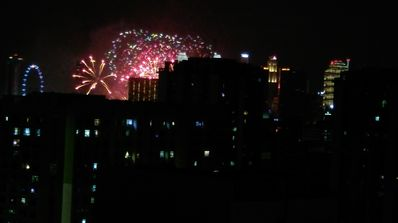 View of Fireworks from Roof Sky Park