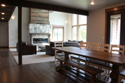 Home features an open concept between the living room, dining room and kitchen.