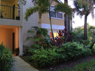 Lush tropical foliage greets you at our Florida home