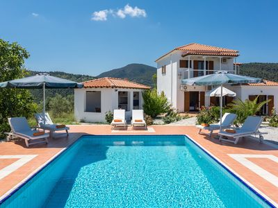 Photo for Villa Glafki: Large Private Pool, Sea Views, A/C, WiFi