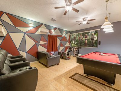 Photo for ✦Modern Luxury Villa✦5 min2Disney ✦ Theater ✦ South-facing Pool/Spa✦Themed Rooms