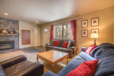 Cozy up to our gas fireplace and nicely appointed living room