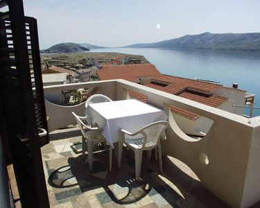 Photo for Studio flat with terrace and sea view Zubovići, Pag (AS-240-a)