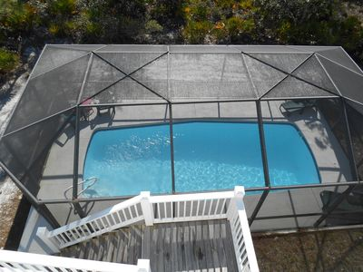 View from the top deck allows you to monitor the pool.