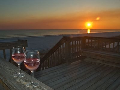 Relax with a glass of wine on the boardwalk