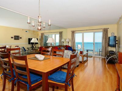 Photo for FREE DAILY ACTIVITIES! LINENS INCLUDED*! 12TH FLOOR - Direct Oceanfront 2 bedroom, 2 bath (Master Bath is Shower only), with open den. Balcony access from Living Room and Master Bedroom.