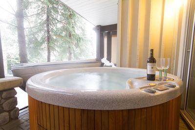 Relax and rejuvenate in the hot tub after skiing.