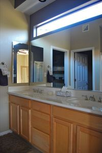 Master Bath has double sinks, large walk in shower and private wc
