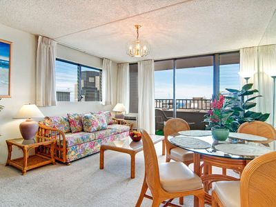 Photo for Ocean View End unit Royal Kuhio Condo, Great Amenities, Free Parking!!