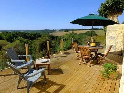 The rear decking showing the stunning views across the valley.