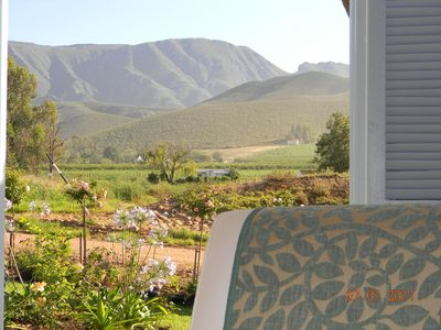 Photo for Cape Winelands cottage 90m2 with beautiful views of vineyards, mountains & orcha