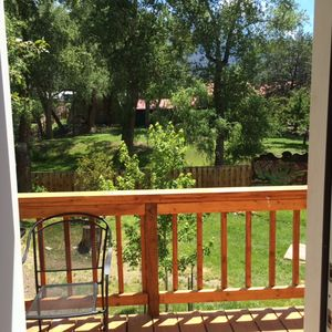 View from the verandah into the park. Mountain views behind