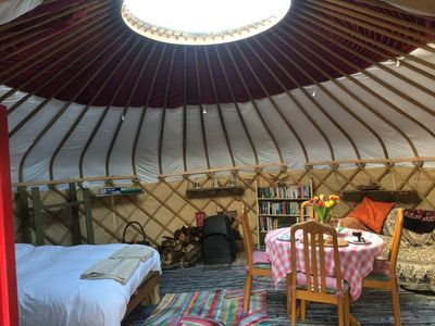 Yurt interior view with Yötel woodburner