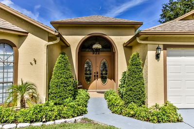 Luxurious double door front entrance to your vacation home in paradise!