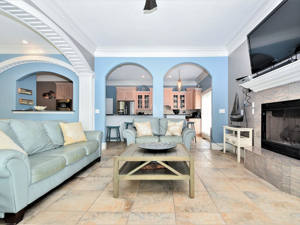 stunning 3 story house design. 4 Castle in the Dunes  Living Area View 2 Stunning 3 Story Beach Home with Views Pri VRBO