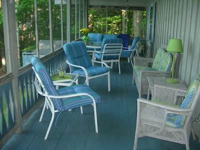Comfortable seating on screen porch