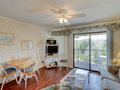 Photo for Condo w/ private balcony, shared pool - minutes from the beach
