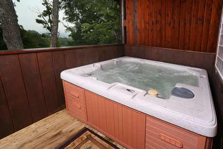 Hot Tub   Hot Tub On The Deck Of The Cabin.