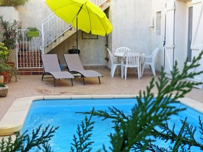 Photo for Lovely apartment for 3 guests with WIFI, A/C, private pool, TV and parking