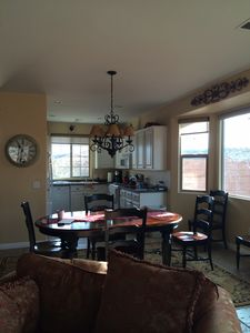 Kitchen and dining room area.