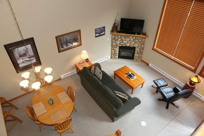 Aerial view dining area/living room