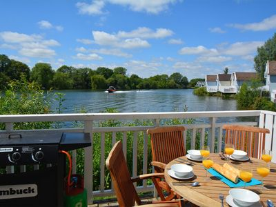 Photo for New England style lakeside living in the Cotswold Water Park. Pet friendly.
