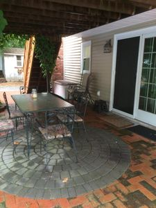 Your Private entrance with patio area and table and chairs to relax.
