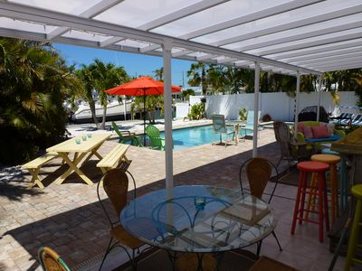 Very private backyard, with covered dining, bar, seating, pool, spa and dock