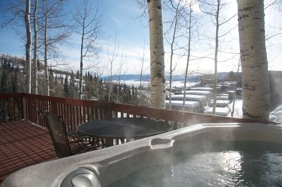 View from the hot tub in winter