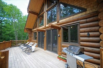 Large deck with great sun exposure and gas bbq.  Totally private.