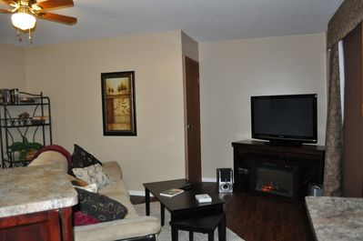 T.V area with fireplace