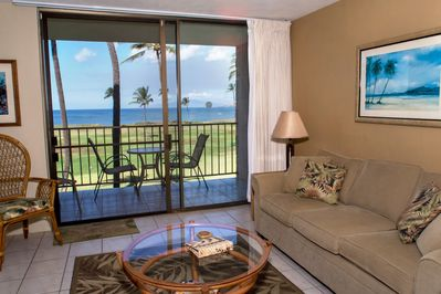 Oceanfront view from this living room