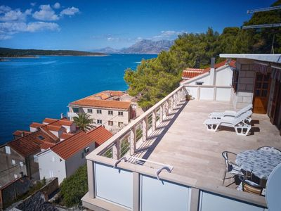Photo for Two bedroom apartment with terrace and sea view Povlja, Brač (A-14399-e)