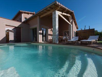 Photo for Private Luxury 3 bed, villa, with air-con and heated pool on chateau Estate