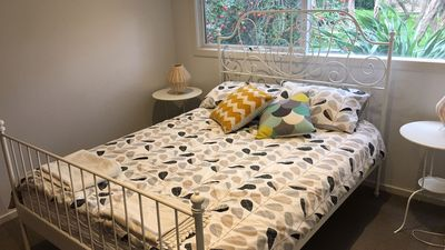 Lower level Bedroom 3 with queen bed