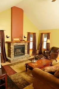 cozy up to fireplace with a glass of wine!