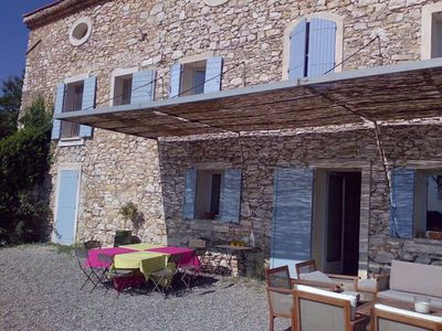 Photo for Apartment in renovated farmhouse with swimming pool (Couteron)