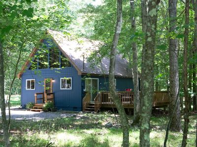 Photo for modern a-frame cabin with fireplace & lake access