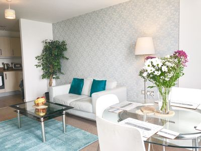 Beautifully decorated lounge with Duck Egg colour theme.