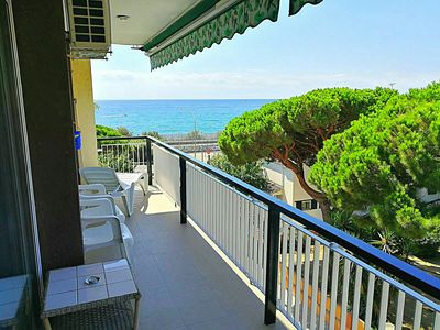 Photo for Apartment with pool at 35 kms Barcelona at 100m beach and train