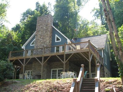 Photo for Lake Lure access in Quiet Cove~Outdoor Fireplace~Kayaks~Swimming, Fishing, Family Fun!