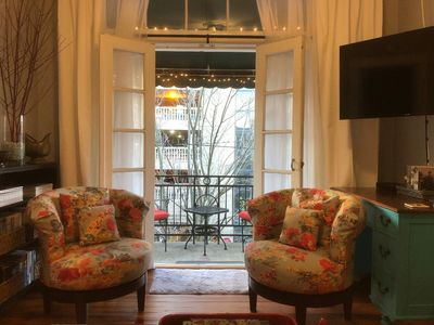 Open the French doors of this wonderful space to the romantic balcony for two.