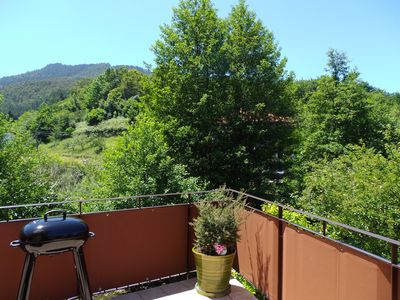 Terrace with view to mountains.