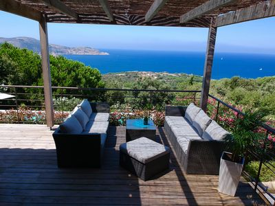 Photo for CALVI EXCEPTIONAL AND UNIQUE, PANORAMIC SEA VIEW, MODERN VILLA WITH SWIMMING POOL